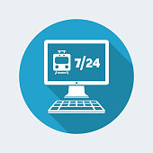Train travel booking agency website - Vector flat icon