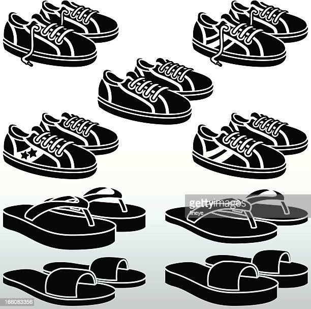 trainers and flipflops black&white - sandal stock illustrations, clip art, cartoons, & icons