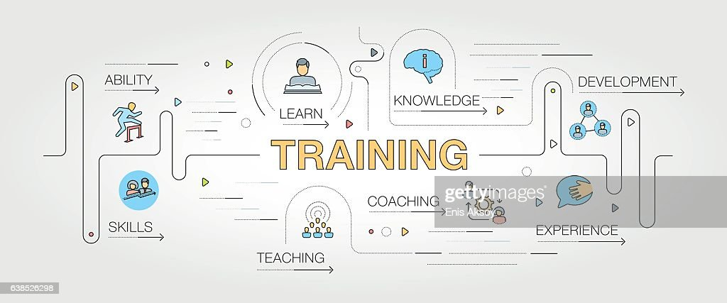 Training banner and icons : stock illustration