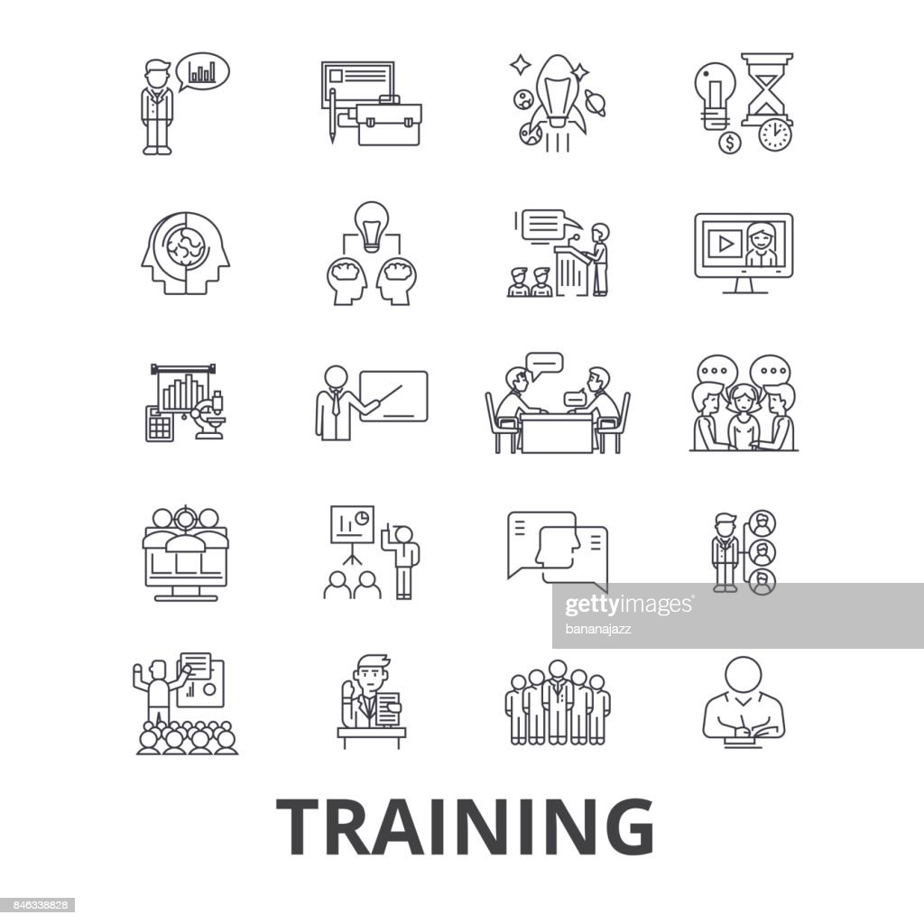 Training, business school, online course, learning, train, education, study line icons. Editable strokes. Flat design vector illustration symbol concept. Linear isolated signs