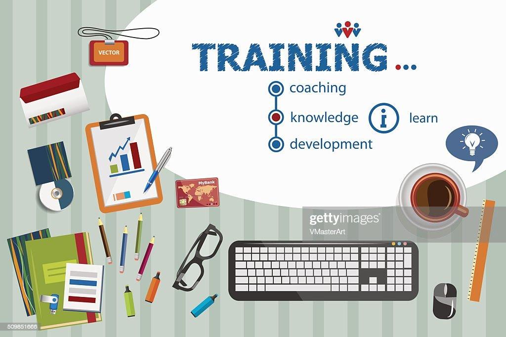 Training design and flat design illustration concepts for busine