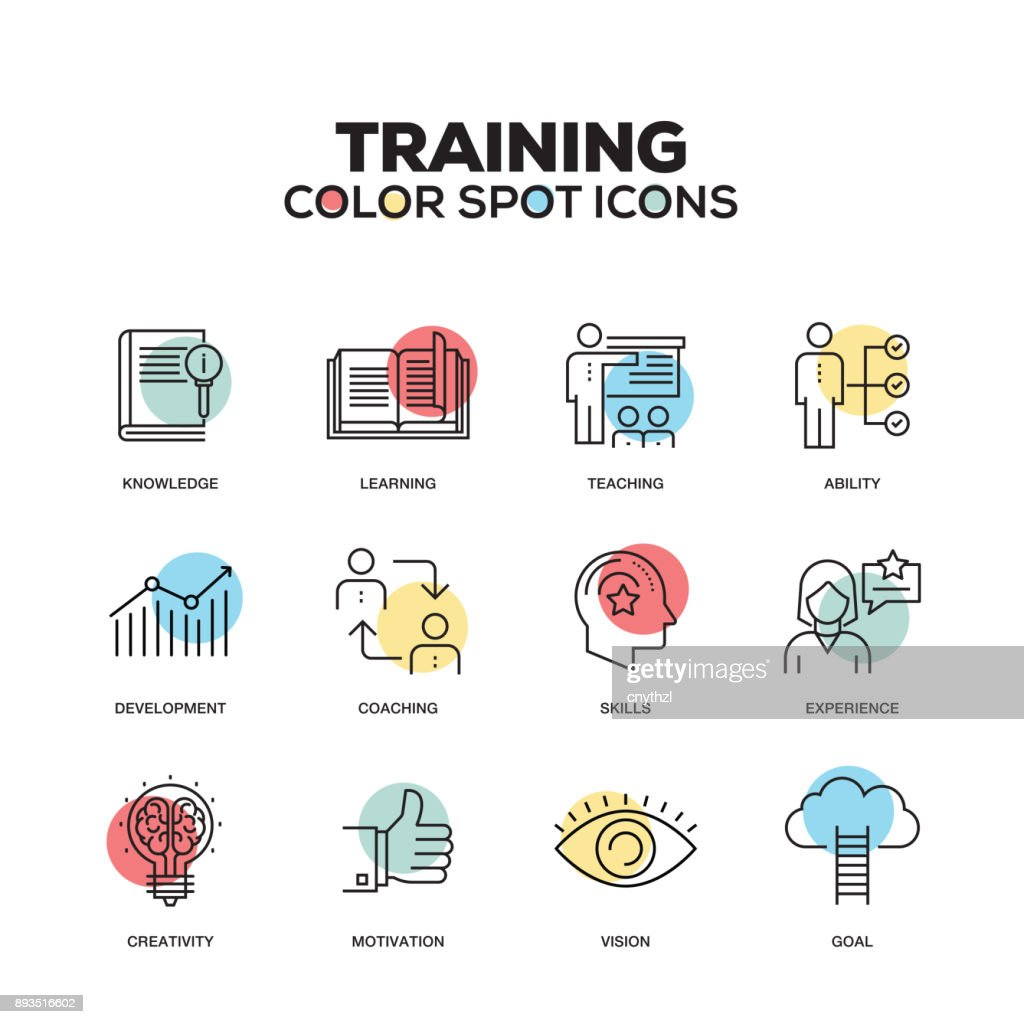 Training icons. Vector line icons set. Premium quality. Modern outline symbols and pictograms. : stock illustration