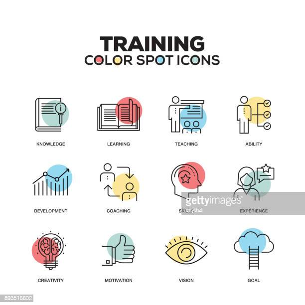 training icons. vector line icons set. premium quality. modern outline symbols and pictograms. - instructor stock illustrations