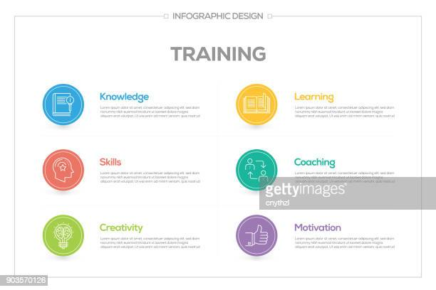 Training Infographic with 6 options, steps or processes.