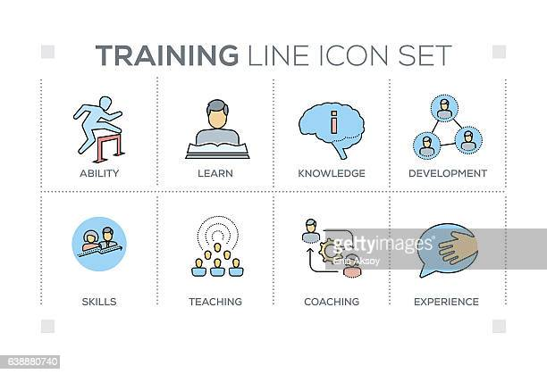 Training keywords with line icons