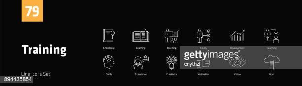 ausbildung linie icons set - konferenz stock-grafiken, -clipart, -cartoons und -symbole