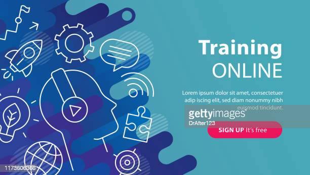 training online banner - web conference stock illustrations