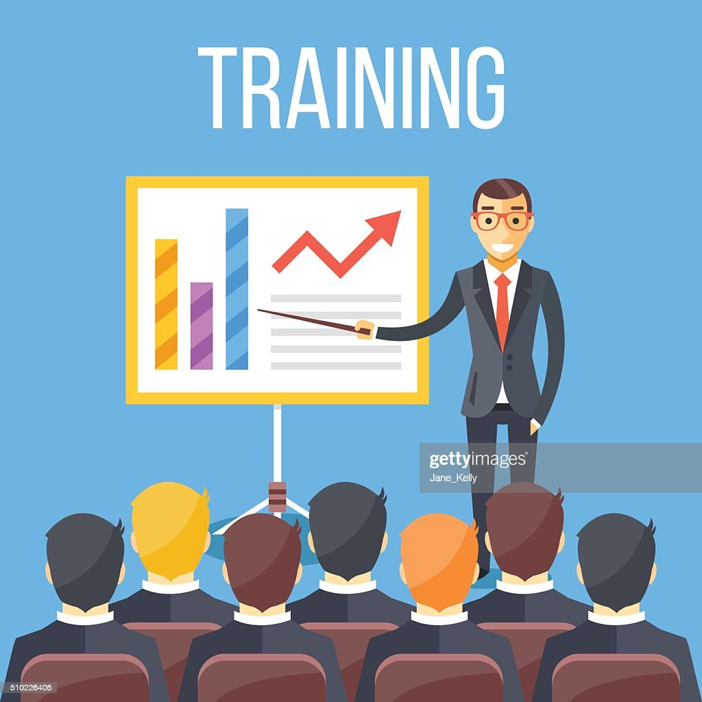 Training staff, business presentation, meeting, business school. Vector flat illustration