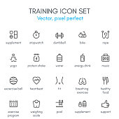 Training theme, line icon set.