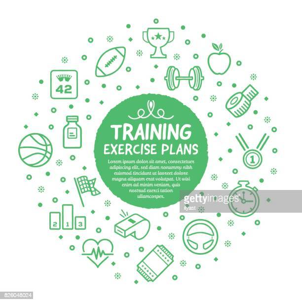 training workout poster - cardiovascular exercise stock illustrations, clip art, cartoons, & icons