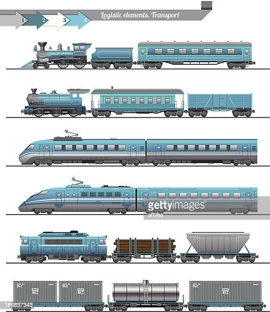 trains set - side view stock illustrations