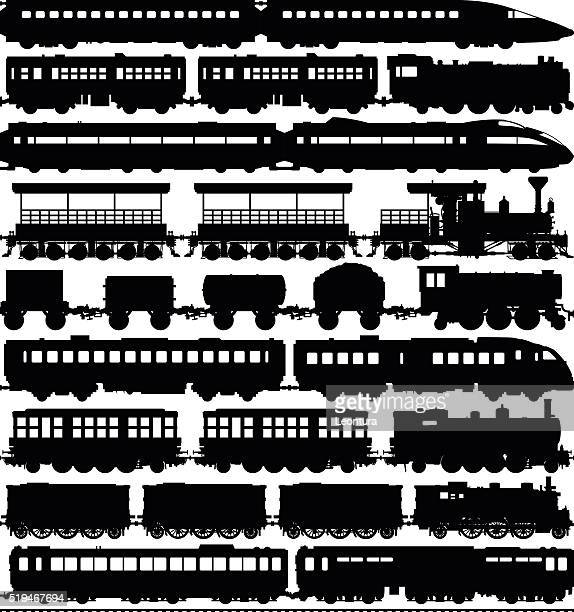 trains (carriages can easily be separated or duplicated) - horsedrawn stock illustrations, clip art, cartoons, & icons