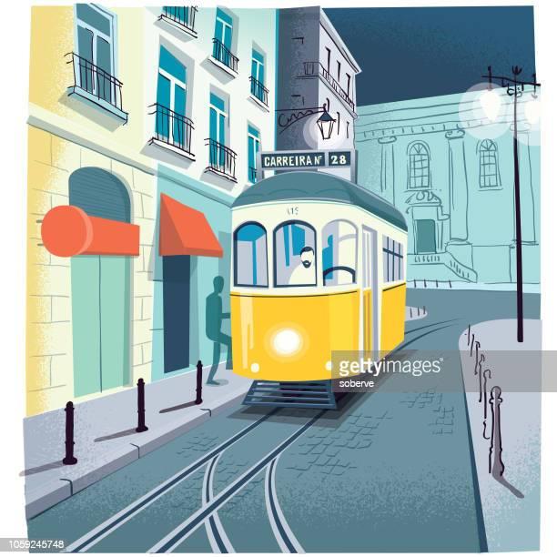 tram 28 - hauptstraße stock-grafiken, -clipart, -cartoons und -symbole