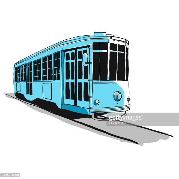 stockillustraties, clipart, cartoons en iconen met schets van de tram - tram