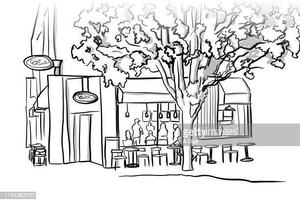 tranquil coffee shop patio - corner of building stock illustrations, clip art, cartoons, & icons