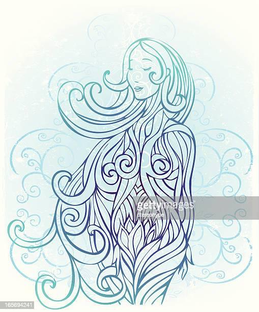 tranquil pregnancy - goddess stock illustrations, clip art, cartoons, & icons