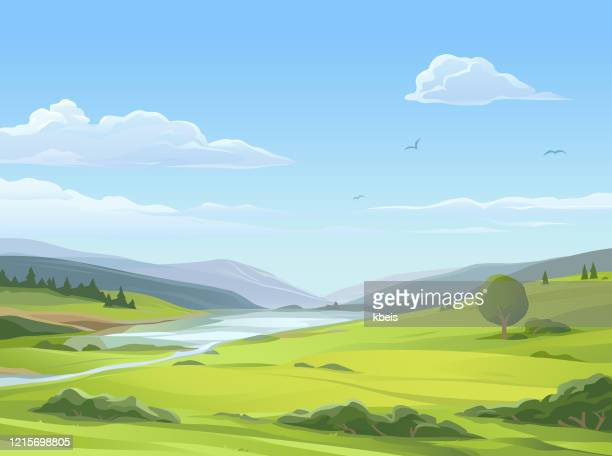 tranquil rural landscape - idyllic stock illustrations