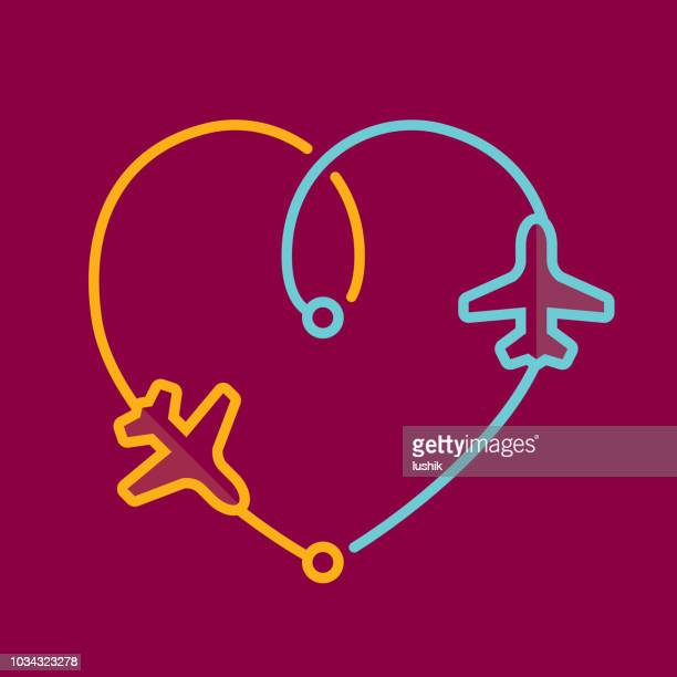 transfer airplanes leaving a heart shape trace - travel stock illustrations