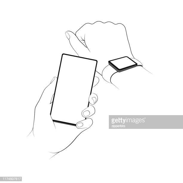transferring data between a phone and watch - smart watch stock illustrations