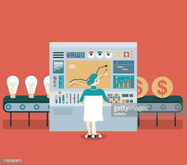 transformation idea to money - businesswoman - manufacturing equipment stock illustrations