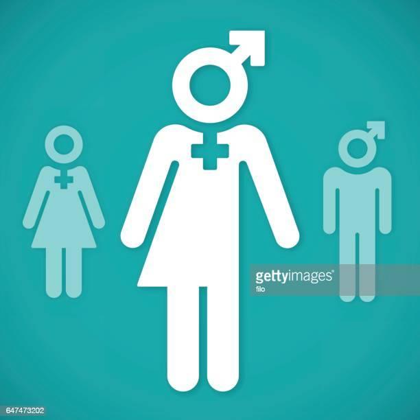 transgender person symbols - gender fluid stock illustrations