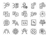 Translation line icon set. Included the icons as translate, translator, language, bilingual, dictionary, communication, bi-racial and more.