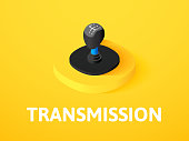 Transmission isometric icon, isolated on color background