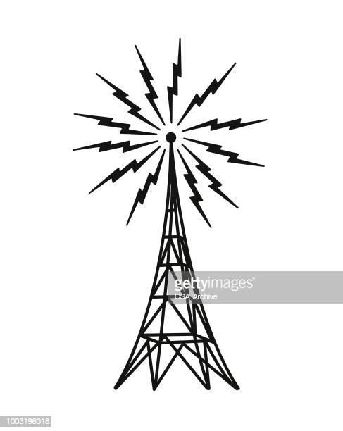 ilustraciones, imágenes clip art, dibujos animados e iconos de stock de torre de transmisión - torres de telecomunicaciones