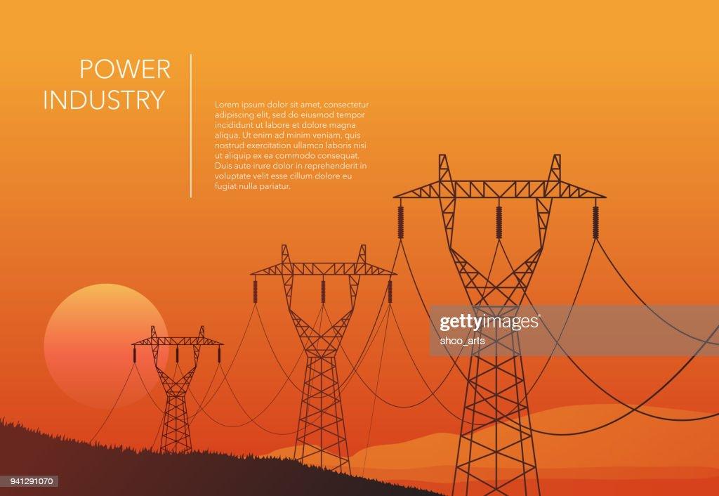 Transmission towers orange landscape background vector