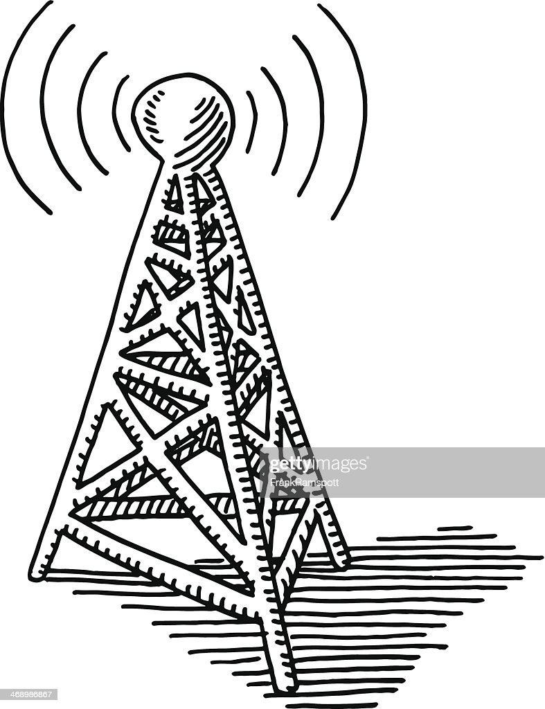 transmitter tower communication drawing vector art