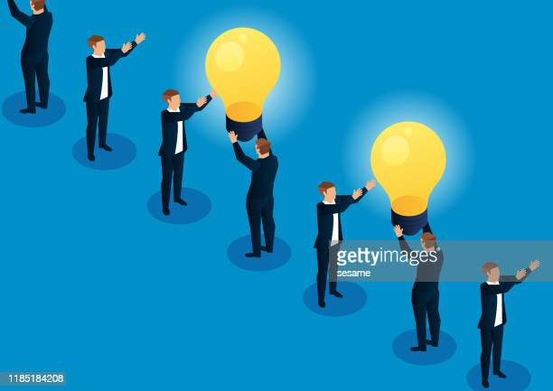 transmitting light bulbs between merchants - ideas stock illustrations