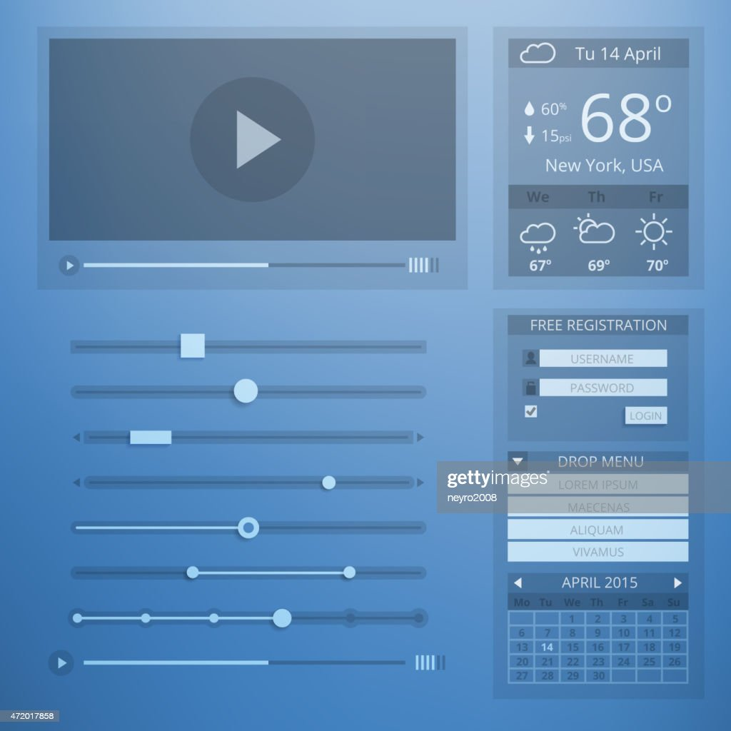 UI transparency flat design of web elements