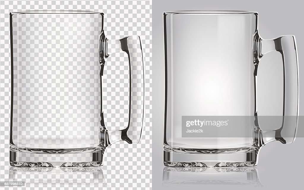 Transparent beer mug.