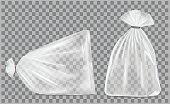 Transparent blank foil or paper packaging. Sachet for bread