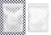 Transparent blank plastic or paper washing powder packaging