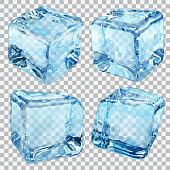 Transparent blue ice cubes
