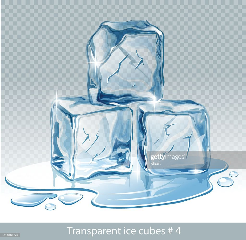 Transparent  blue vector ice cubes and water drops