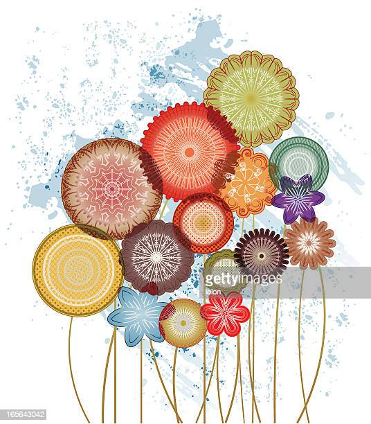transparent circular forest - flowers white background stock illustrations, clip art, cartoons, & icons
