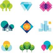 Transparent city logo landscape beauty mosaic geometric icon set
