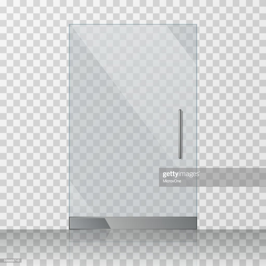 Transparent clear glass door isolated on checkered background vector illustration