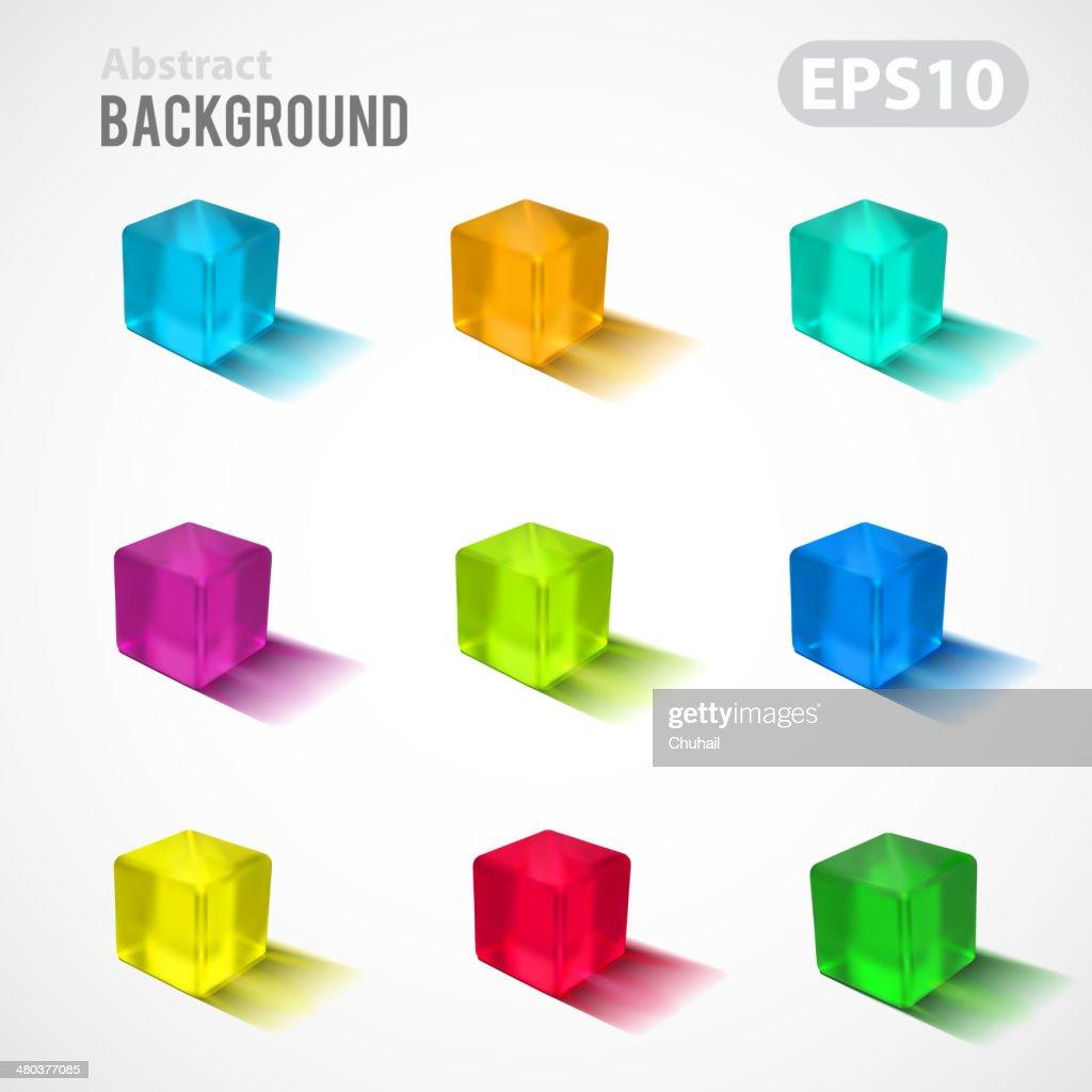 Transparent colorful cubes collection