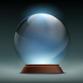 Transparent crystal, glass, magic ball.