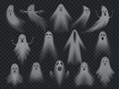 Transparent ghost. Horror spooky ghosts, halloween night ghostly ghoul. Scary phantom vector illustration set