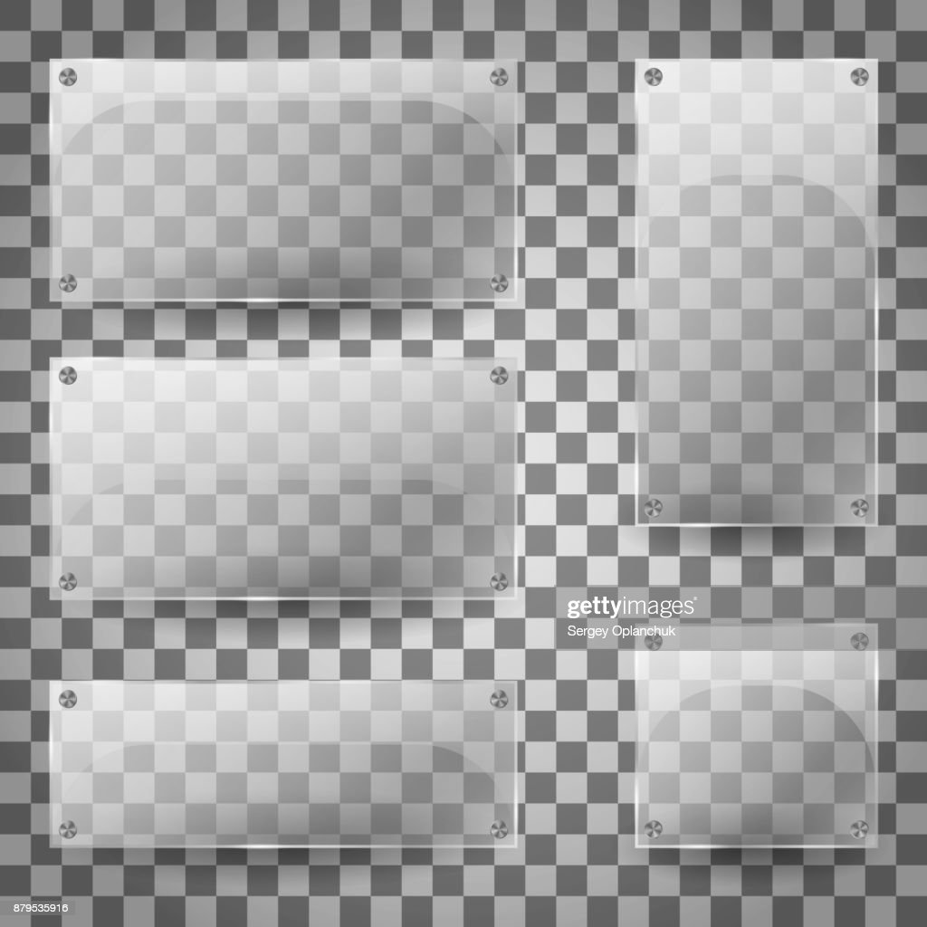Transparent glass blank vertical and horizontal glossy empty banners on checkered background. Set of transparent glare glass plates. Vector Illustration