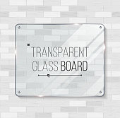 Transparent Glass Board Vector. Decorative Graphic Design Element. Plastic Or Glass Frame Template. Illustration