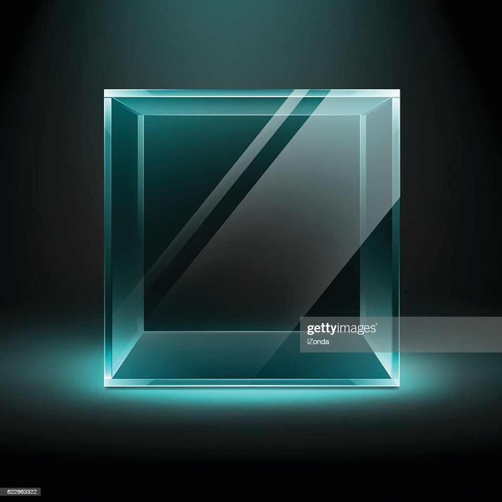 Transparent Glass Box Cube on Black Background with Blue Backlight