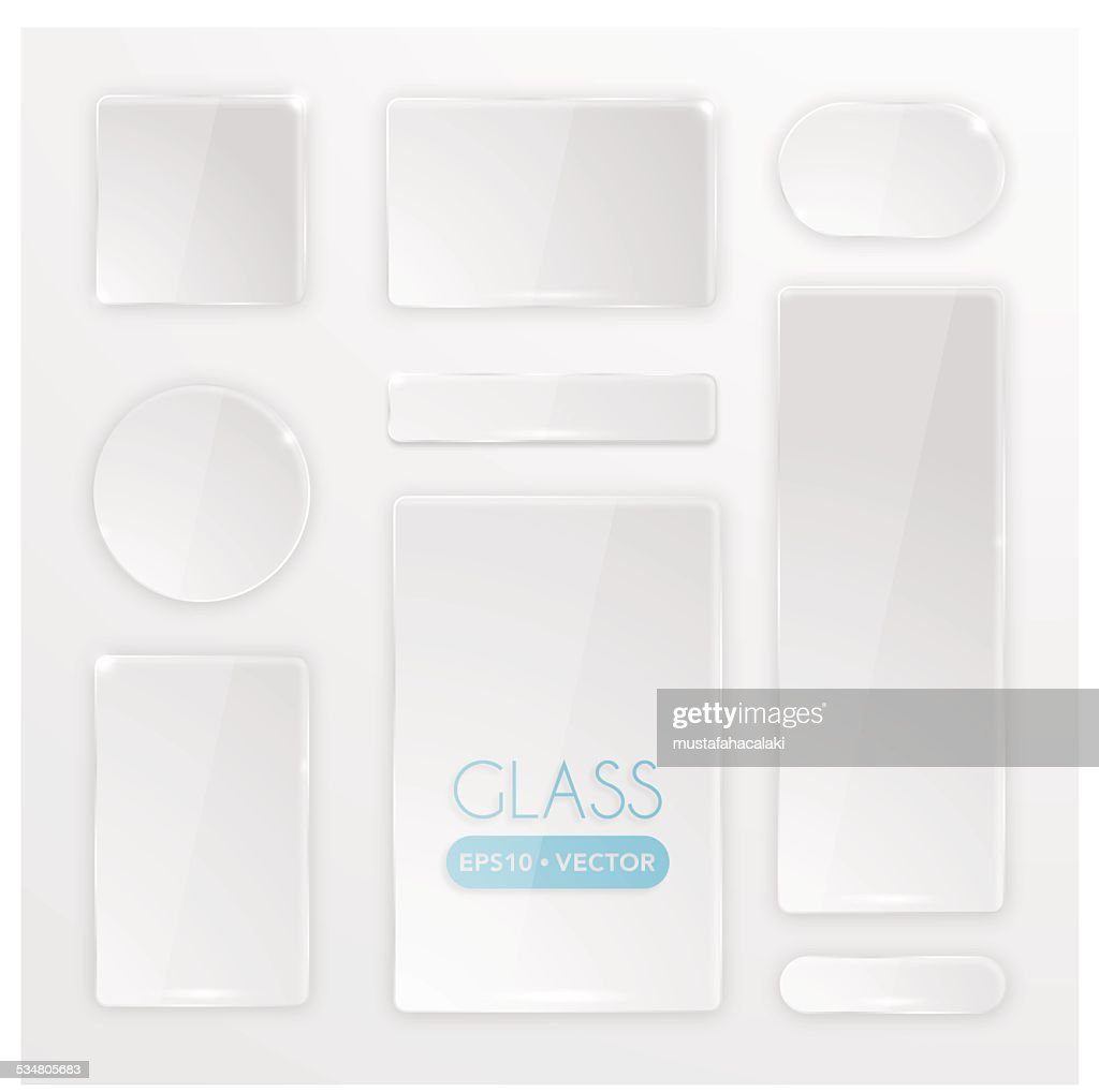 Transparent glass buttons set