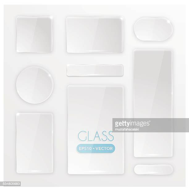 transparent glass buttons set - shiny stock illustrations