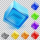 Transparent glass cubes