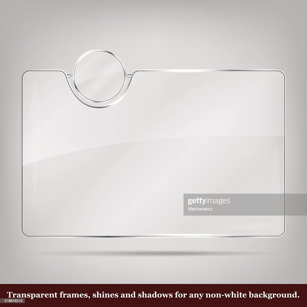 Transparent glass frame - place for icon and text